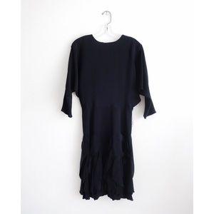 Vintage 80s Betsy & Adam Black Ruffle Dress est 4
